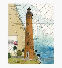 Ponce Inlet Lighthouse FL Nautical Map Chart Cathy Peek Photographic Print