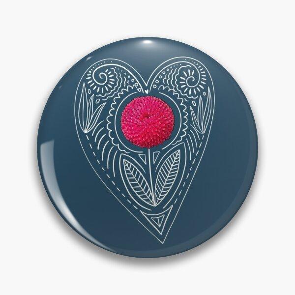 White Heart Flower Pin