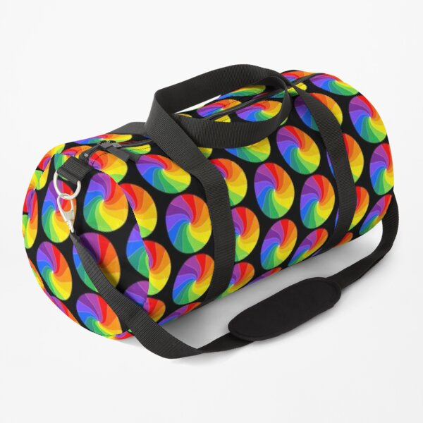 Twelve Color Wheel, a Happy Twirled Rainbow Duffle Bag