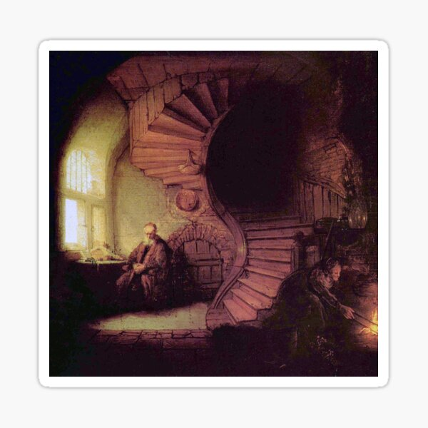 """Rembrandt's """"The Alchemist"""" Sticker"""