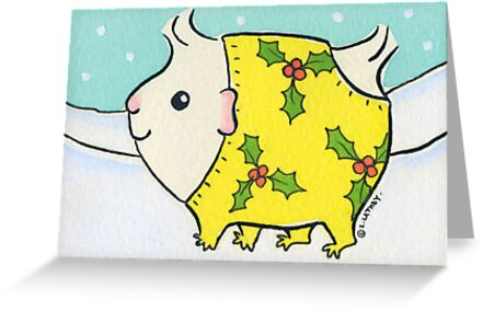 Fluffy White Guinea-pig in a Christmas Onesie - Watercolor by Zoe Lathey