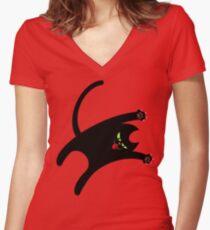 NINJA CAT 1 Women's Fitted V-Neck T-Shirt