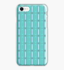 Blue stripes with little rectangles- pattern iPhone Case/Skin