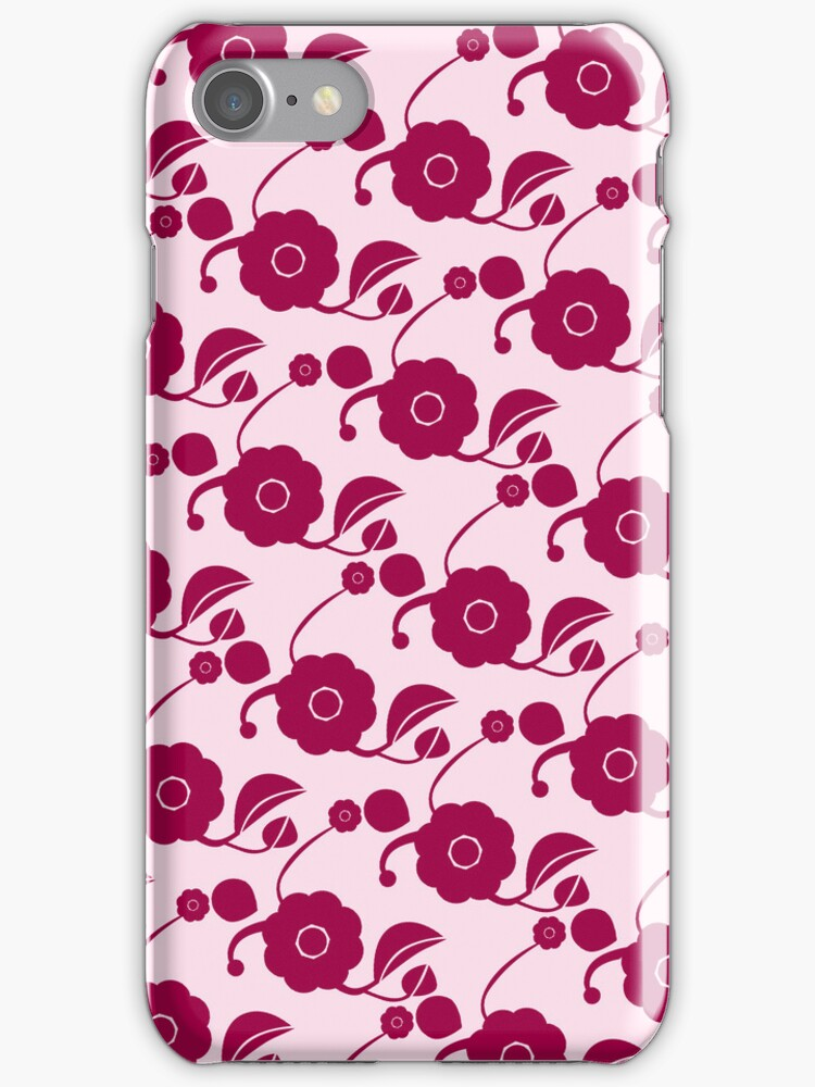 Flowers on pink (retro pattern) by CatchyLittleArt