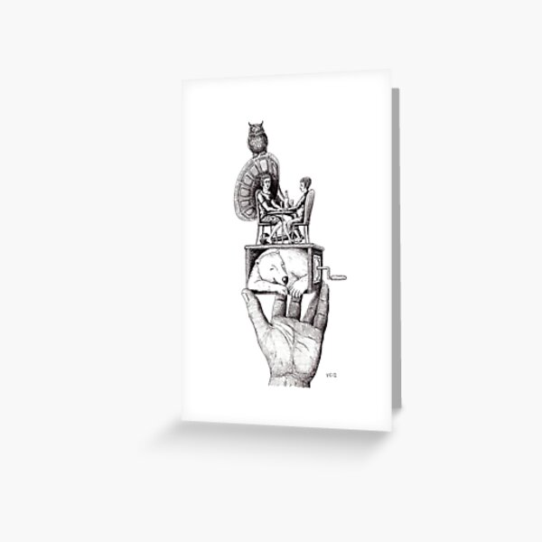 Balance of Love surreal pen ink black and white drawing Greeting Card