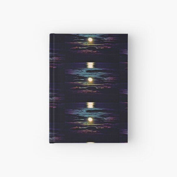 Rainbow Moon Rising Over Lake Superior Hardcover Journal