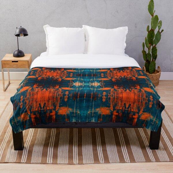Grunge burnt orange, teal, blue, navy , orange,  and black painting grafitti abstract art print Throw Blanket