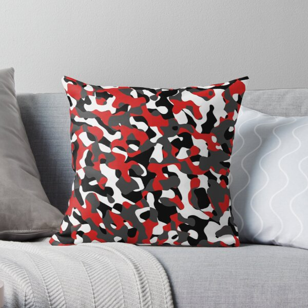 Black Red White Grey Camouflage Camo Pattern Throw Pillow
