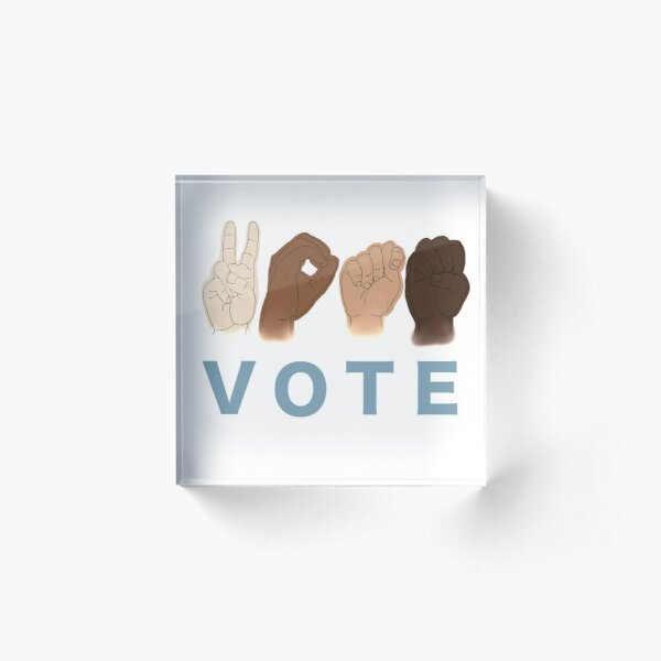 VOTE for Human Rights (ASL) Acrylic Block