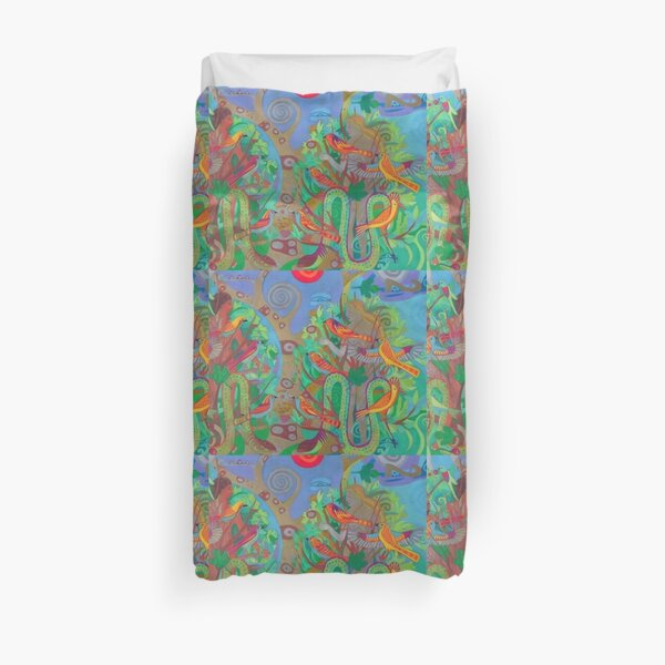 Two Trees and Fig Leaves in the Garden of Desire Duvet Cover