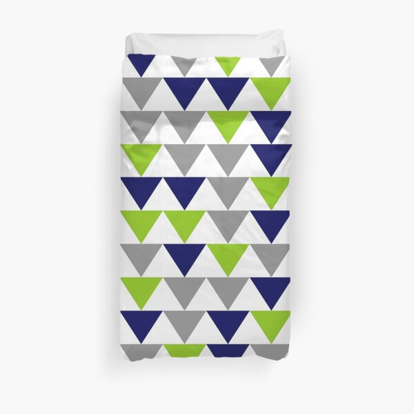 Arrows: Lime Green,  Bright Navy Blue, Grey, and White Geometric Pattern Duvet Cover