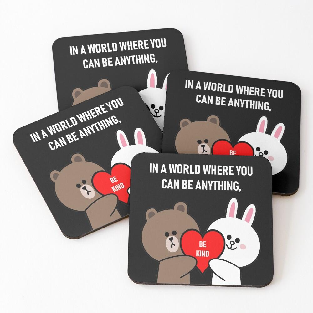 Brown bear cony bunny rabbit be kind Coasters (Set of 4)