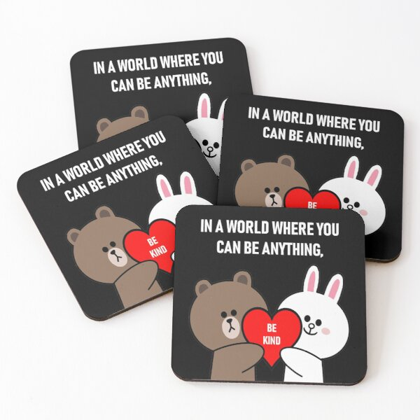 Brown bear cony bunny rabbit be kind Coasters (Set of 4)