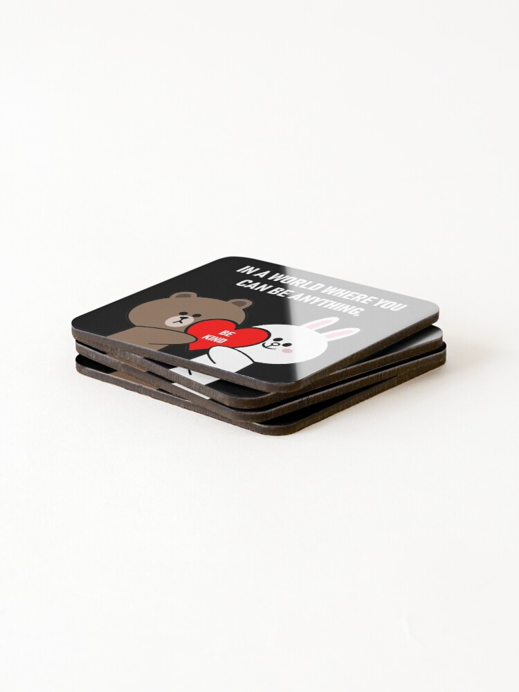 Alternate view of Brown bear cony bunny rabbit be kind Coasters (Set of 4)