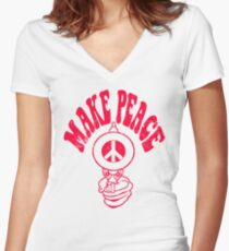 Make Peace Logo Women's Fitted V-Neck T-Shirt