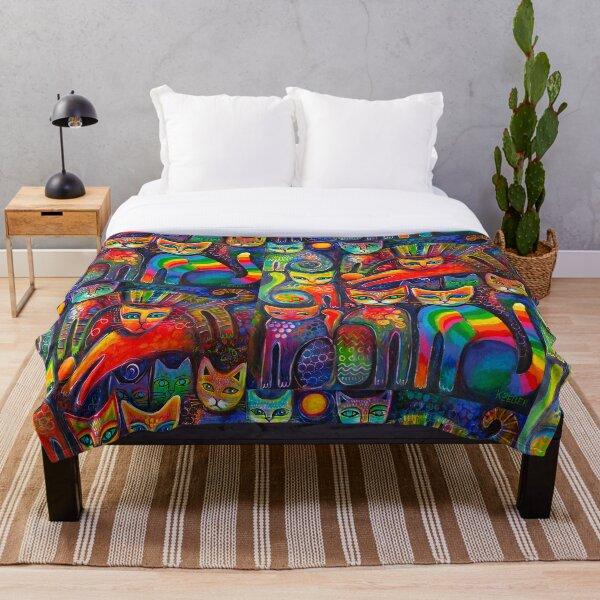 Rainbow cats acrylics Throw Blanket