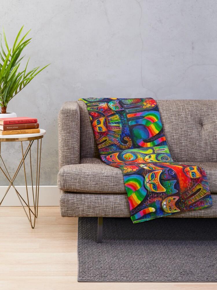 Alternate view of Rainbow cats acrylics Throw Blanket