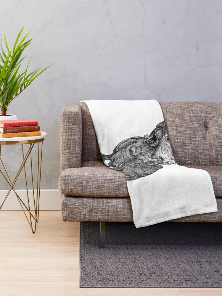 Alternate view of Sassy the Cockatoo Throw Blanket