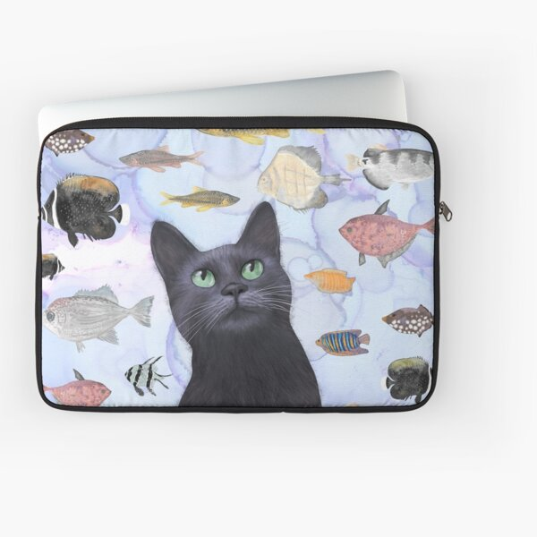 The Hungry Black Cat Gazing at a Fish Tank Laptop Sleeve