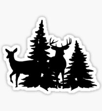 Buck and Doe standing in pine trees silhouette Sticker