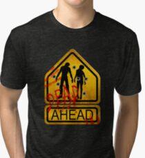 """Caution """"Dead Ahead"""" Tri-blend T-Shirt"""