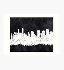 Landmark Skyline - Birmingham Alabama - Chalkboard Art Art Print