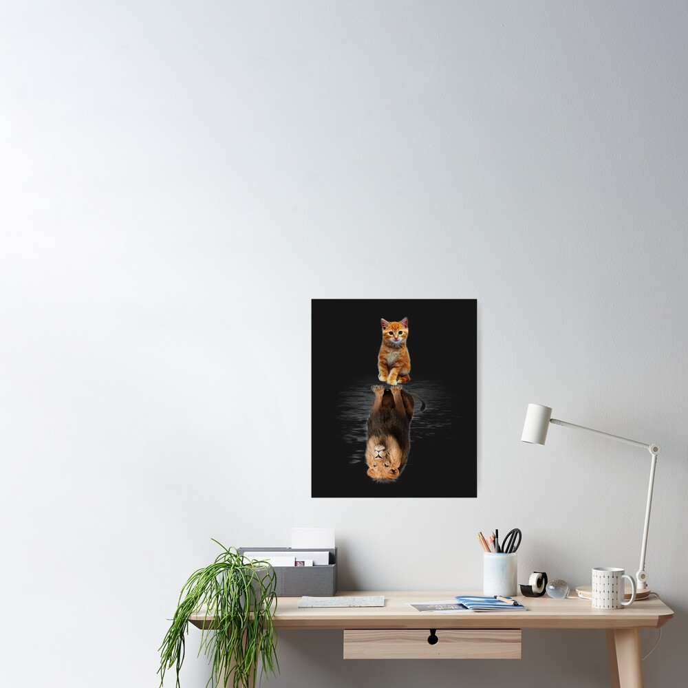 Funny Cat  , Kitten Cat and Lion Mirror Poster