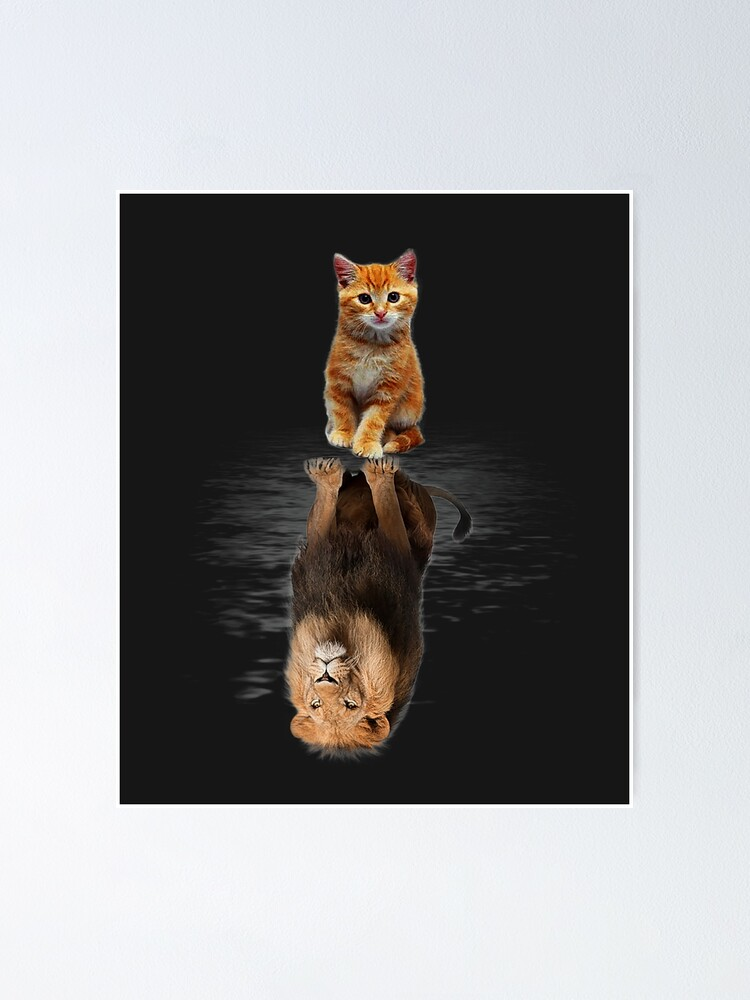 Alternate view of Funny Cat  , Kitten Cat and Lion Mirror Poster