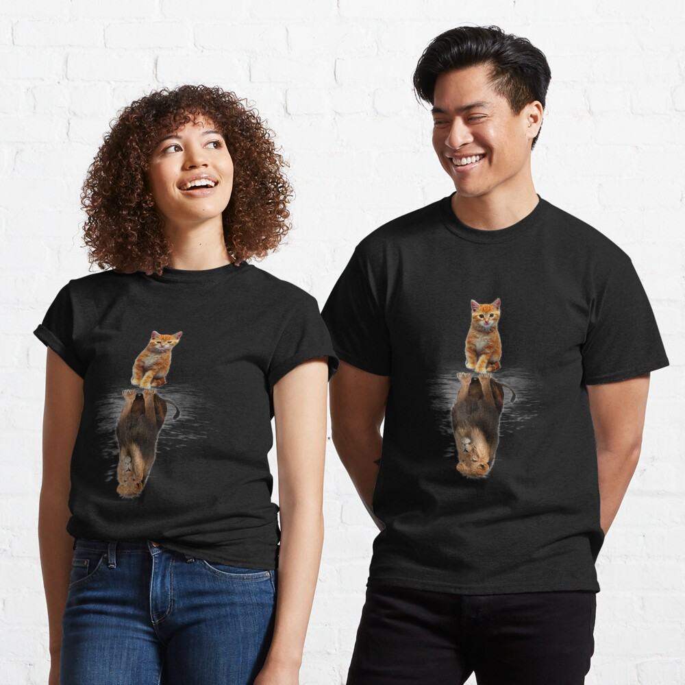 Funny Cat  , Kitten Cat and Lion Mirror Classic T-Shirt