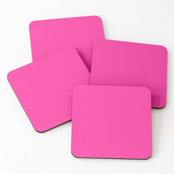 Neon fluorescent Pink/ We Offer 53 Shades of Pink Coasters (Set of 4)