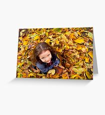 Playing With Autumn Leaves Greeting Card