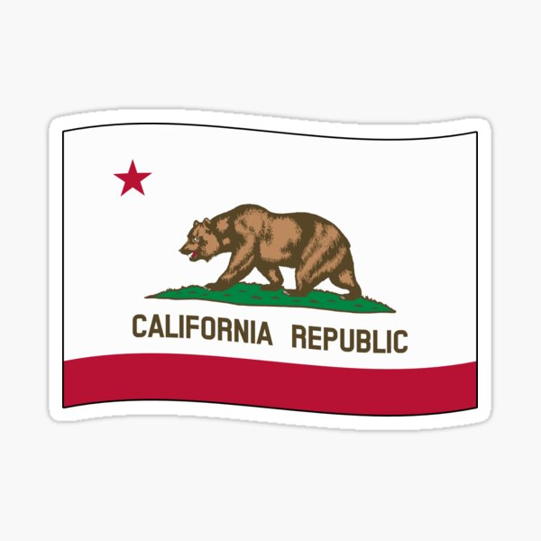 California CA Official State Flag (Ripple Wave) Sticker