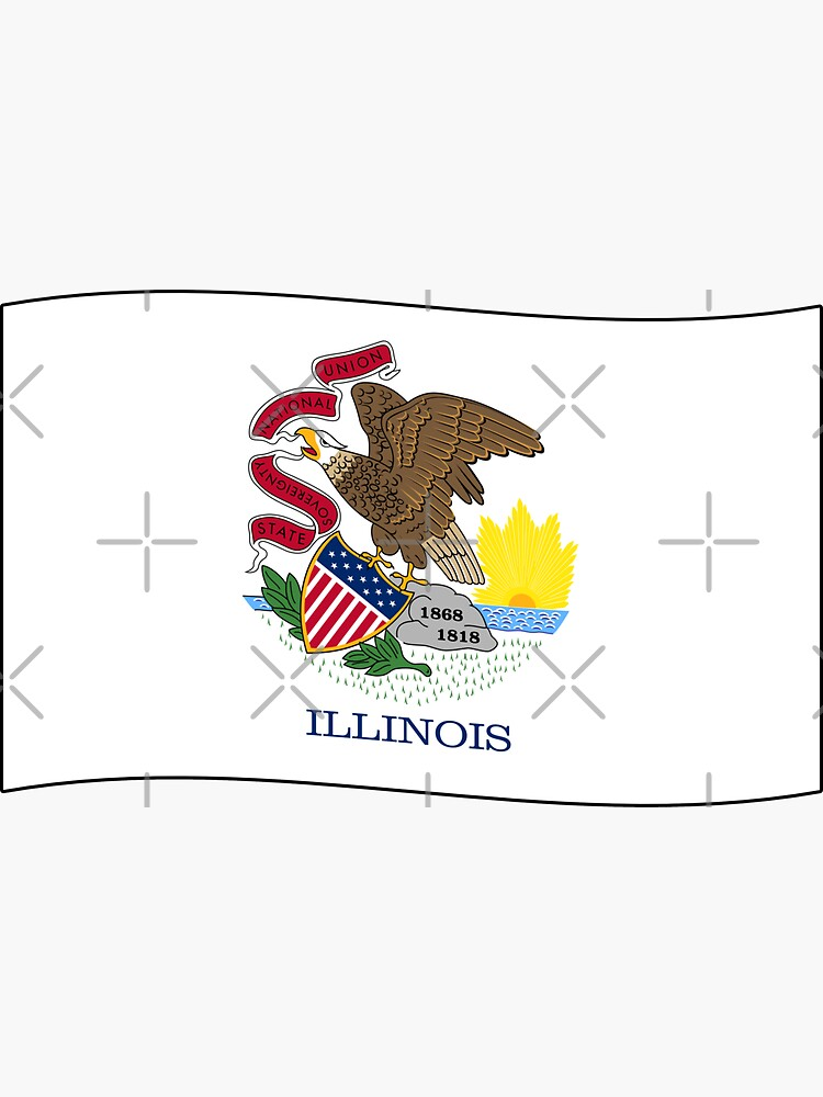 Illinois IL Official State Flag (Ripple Wave) by states