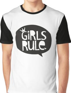 POP TYPE TYPOGRAPHY Girls Rule Black & white Graphic T-Shirt