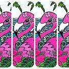 Funky Pink Flamingos by Sheridon Rayment by Sheridon Rayment
