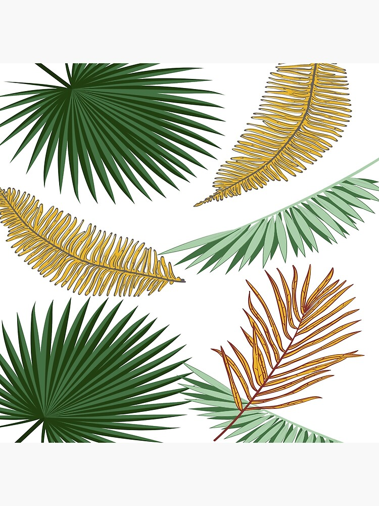 Tropical Green And Golden Palm Leaves White Background Greeting Card By Cloudedsunset Redbubble Create your own props with pretty tropical leaves. tropical green and golden palm leaves white background greeting card by cloudedsunset redbubble