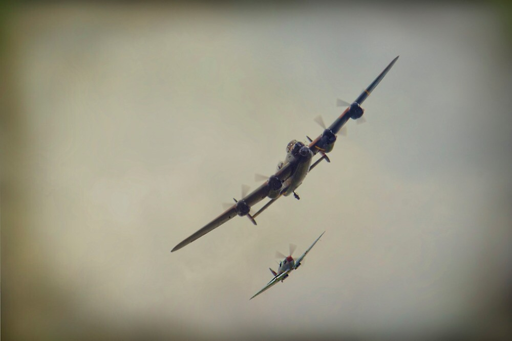 Lancaster and Spitfire by Dave Godden