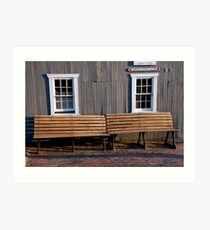 Brick Walk Benches Art Print