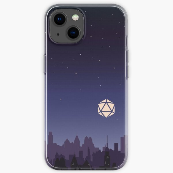Midnight Starry Night D20 Dice Over City Tabletop RPG Cityscape iPhone Soft Case