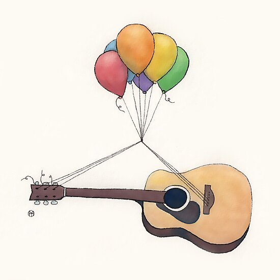 Guitar Getting Carried Away by Balloons by Tim Gorichanaz