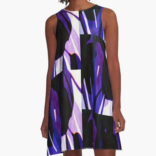 Purple Leaves A-Line Dress