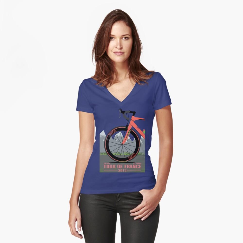 Tour De France Bike Tailliertes T-Shirt mit V-Ausschnitt