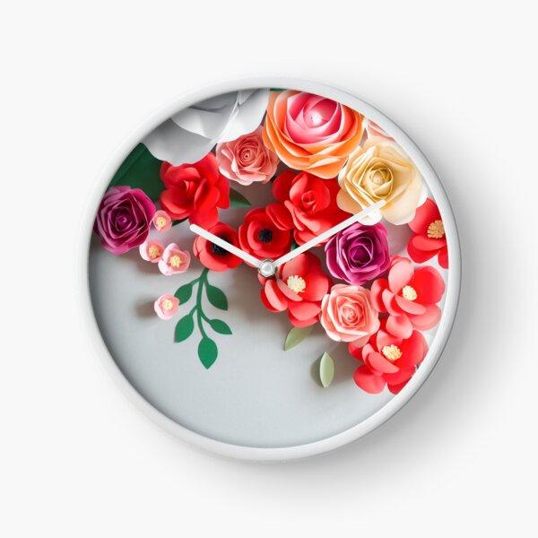 Papierblumen Uhr