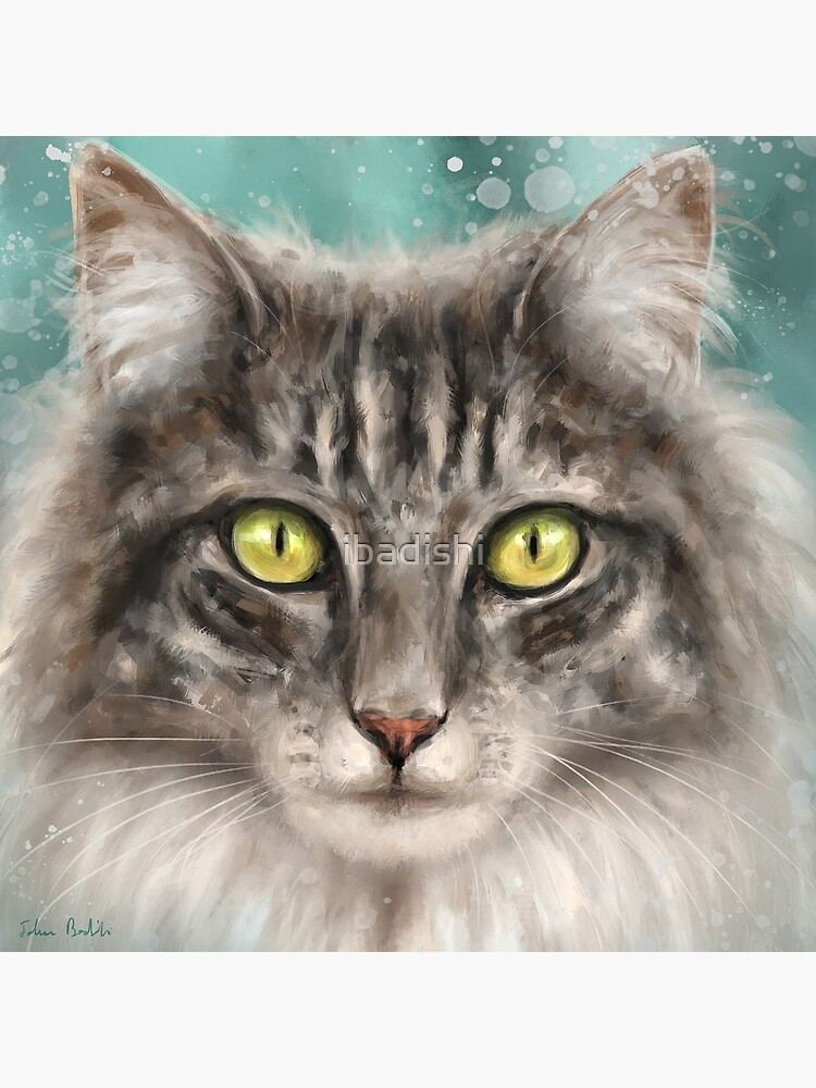 Painting Of A Grey And White Fluffy Cat With Gorgeous Green Eyes Art Board Print By Ibadishi Redbubble