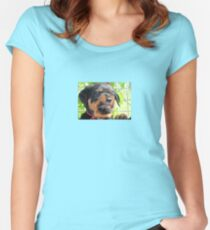 Funny Grumpy Faced Rottweiler Puppy  Women's Fitted Scoop T-Shirt