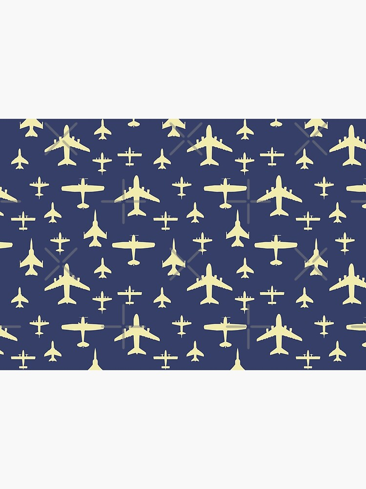 Fly Past Aeroplanes Navy Blue and Beige Pattern by CreativeTwins