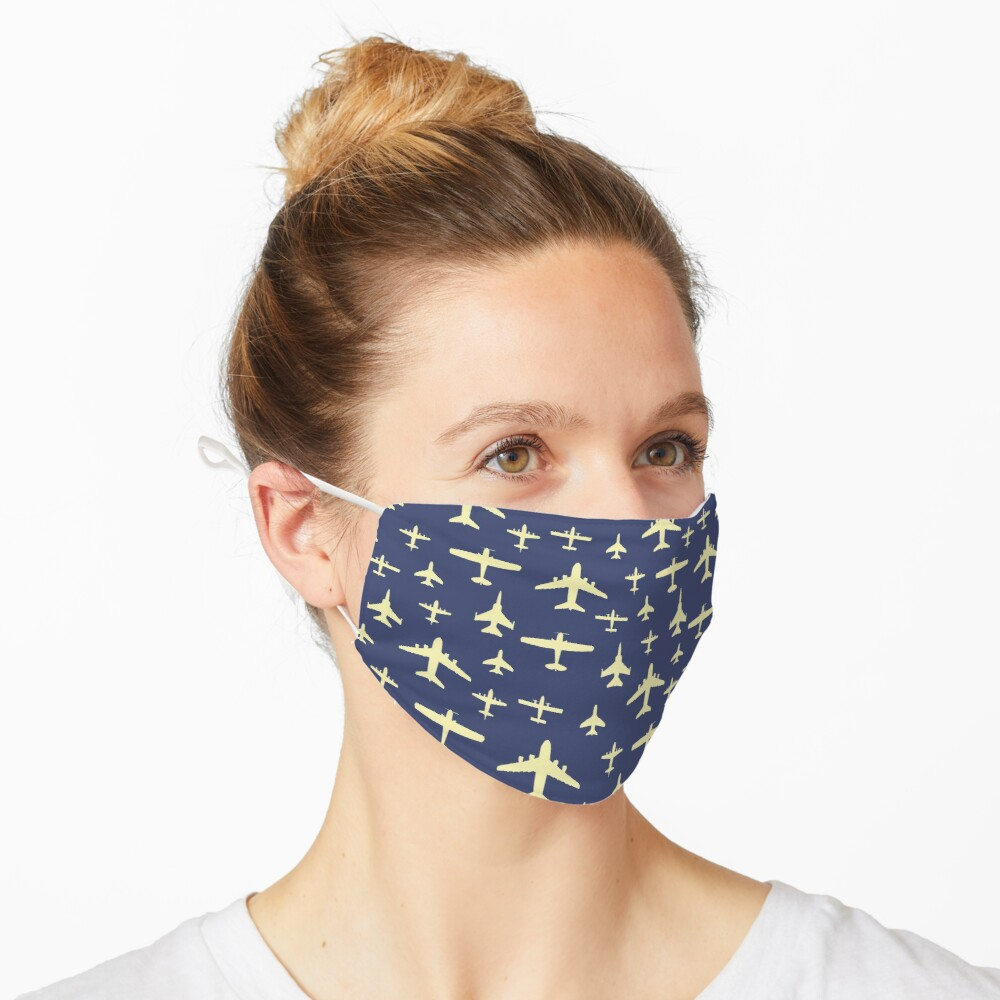 Fly Past Aeroplanes Navy Blue and Beige Pattern Mask