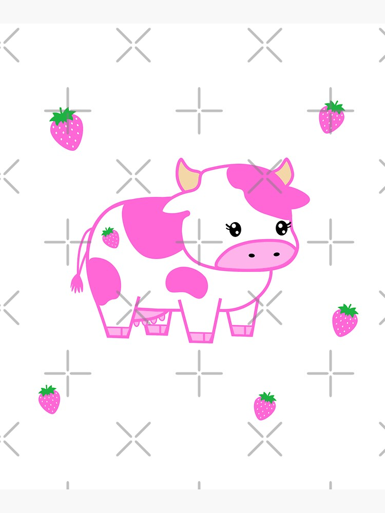 look at you, strawberry cow by discostickers