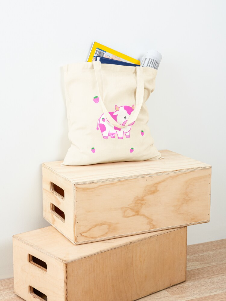 Alternate view of look at you, strawberry cow Tote Bag