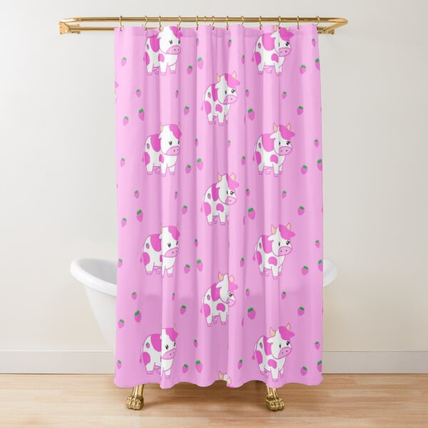 look at you, strawberry cow Shower Curtain